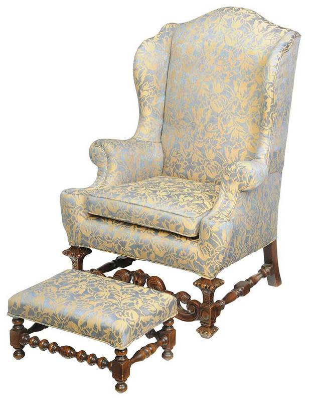 Restoration Style Carved Wing Chair, Footstool