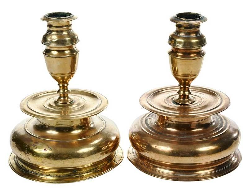 Pair Rare Early Brass Candlesticks