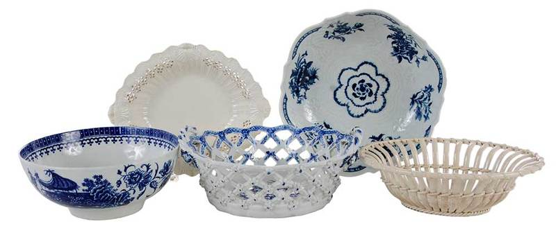 Five Early Porcelain Bowls, Worcester, Dr. Wall