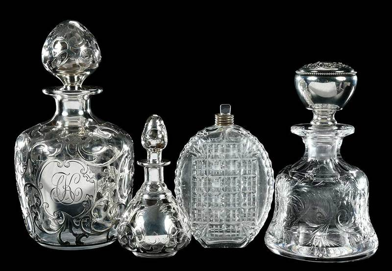 Cut Glass Silver Overlay Perfumes, Flask