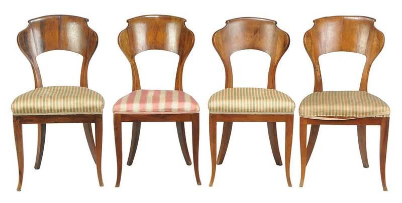 Set Four Biedermeier Walnut Side Chairs