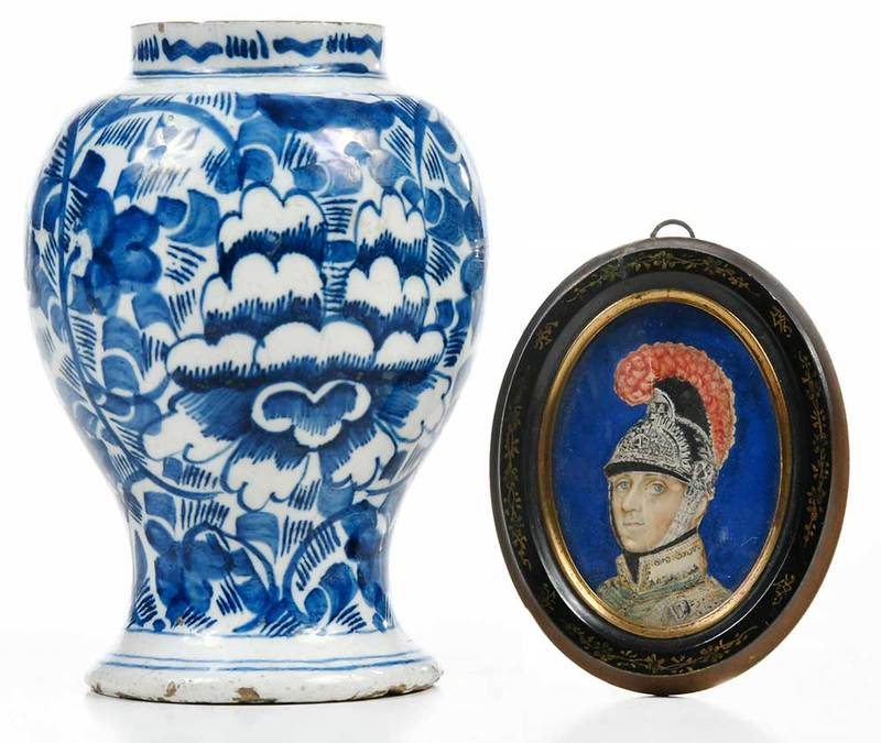 Delft Vase and Miniature Portrait of Soldier