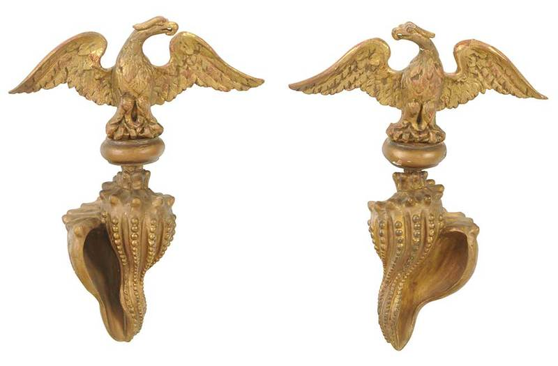 Pair of Carved Gilt Wood Wall Appliques