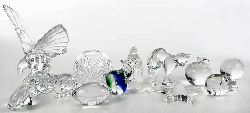 23 Glass Objects, Baccarat, Waterford