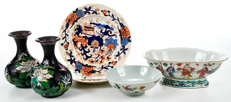 Six Asian Porcelain, Bronze Tableware Objects