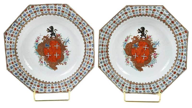 Pair of Chinese Export Bowls, Arms of Chase