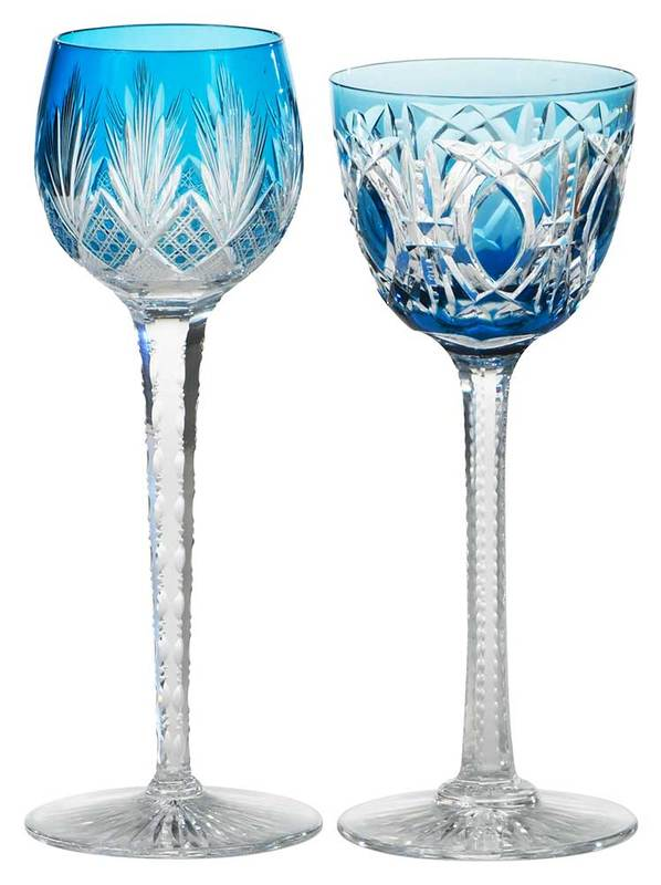 Two Baccarat Cut to Clear Tall Stems