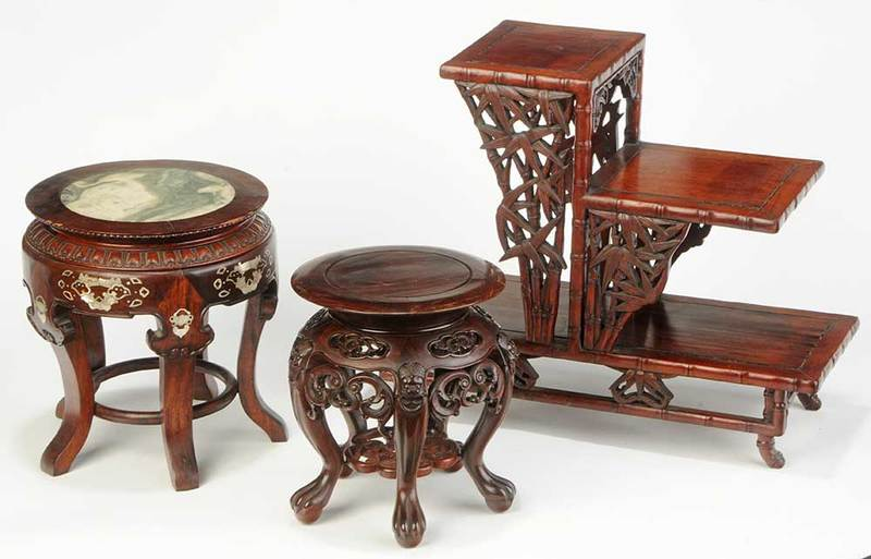 Three Chinese Carved Hardwood Stands