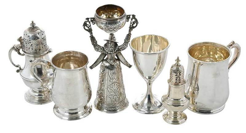 Collection of Six Pieces Silver Items