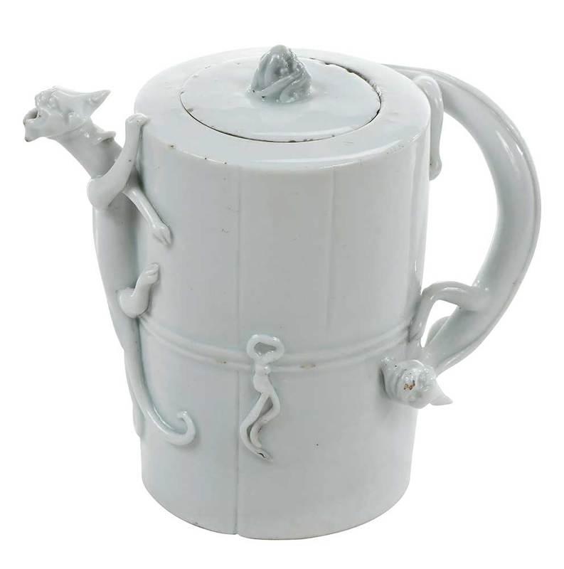 Dehua Blanc de Chine Wine Pot with Chilongs