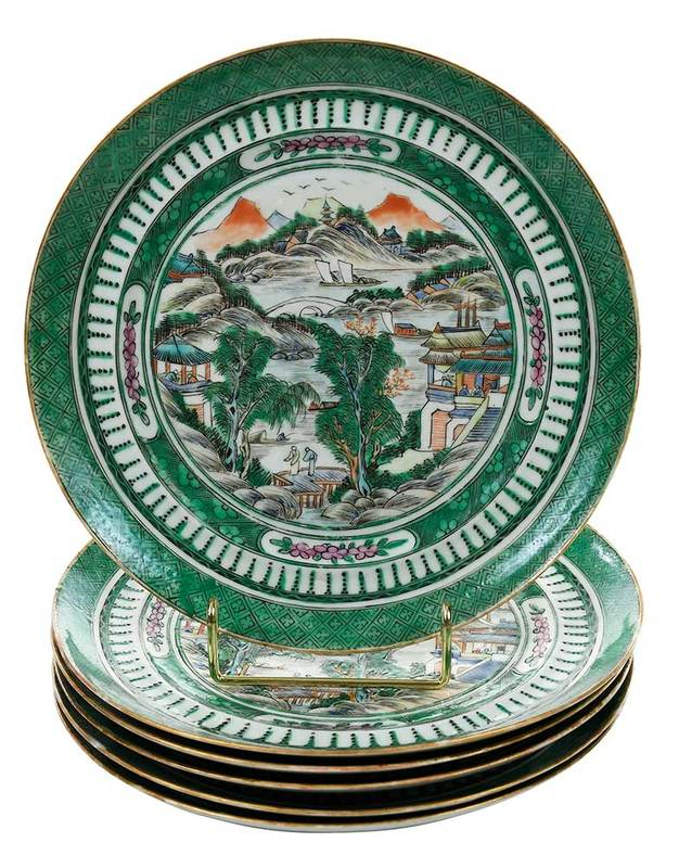 Six Chinese Export Famille Verte Plates