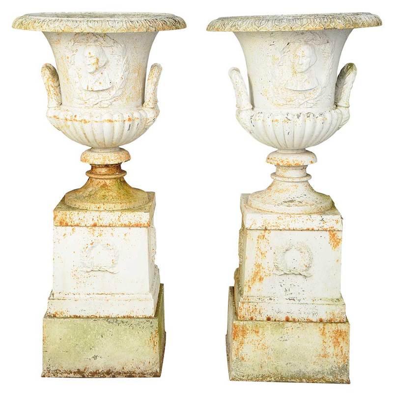 Pair George Washington Cast Iron Garden Urns