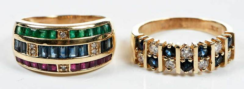 Two 14kt. Gold, Diamond & Gemstone Rings