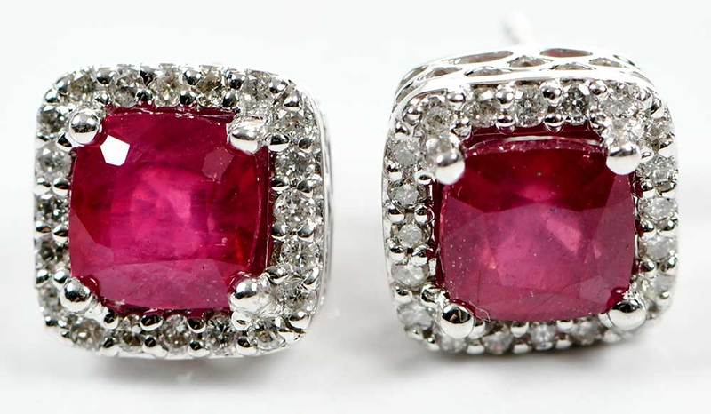 14kt. Gold, Ruby & Diamond Earrings