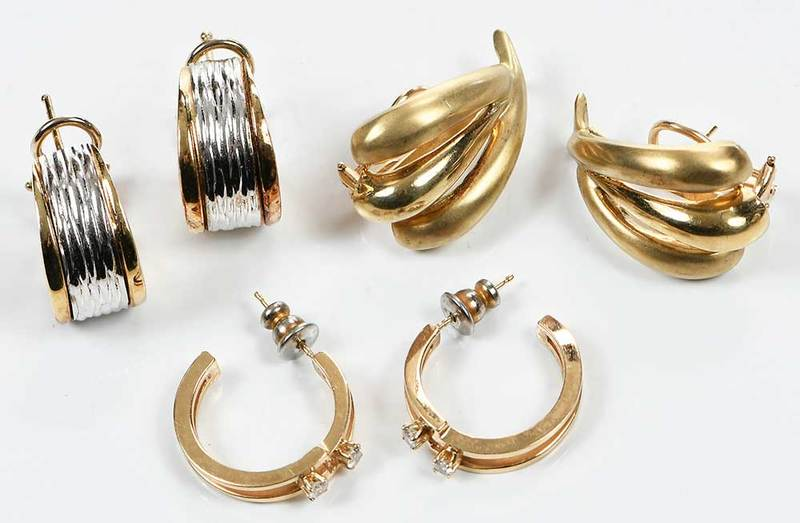 Three Pairs 14kt. Gold Earrings