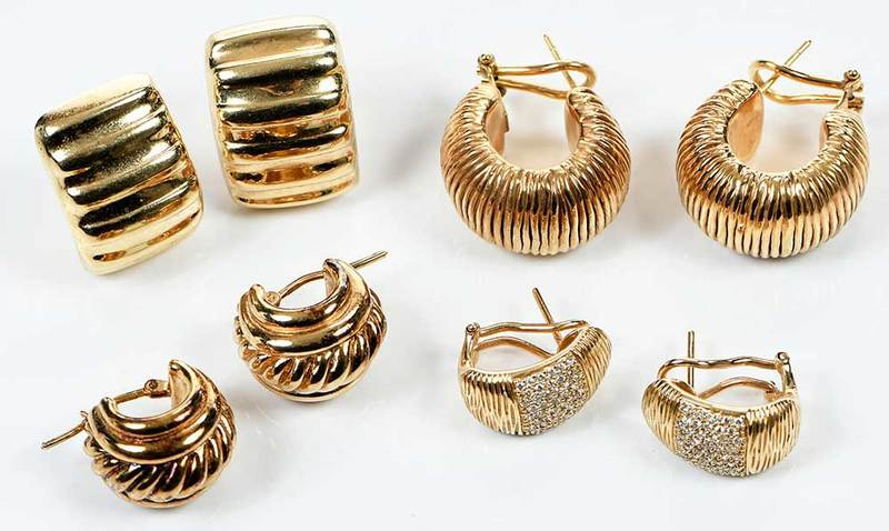 Four Pairs 14kt. Gold Earrings