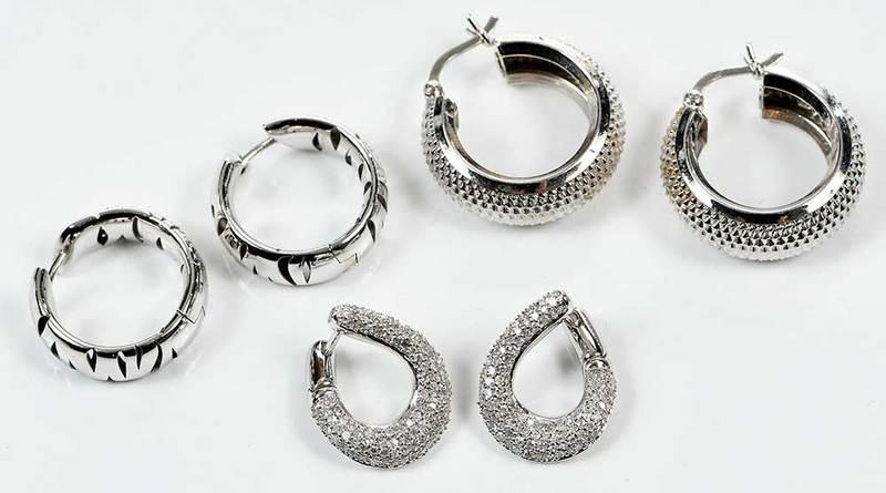 Three Pairs Gold Earrings