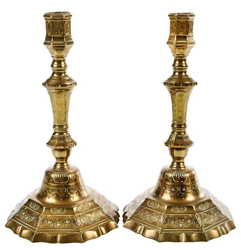 Pair Louis XV Brass Candlesticks