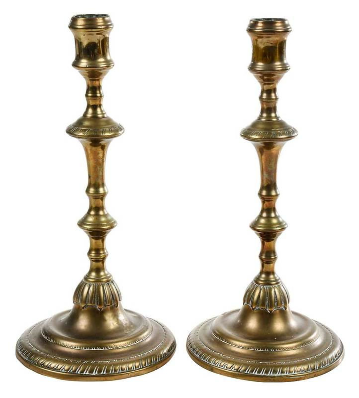 Pair Chippendale Bell Metal Candlesticks