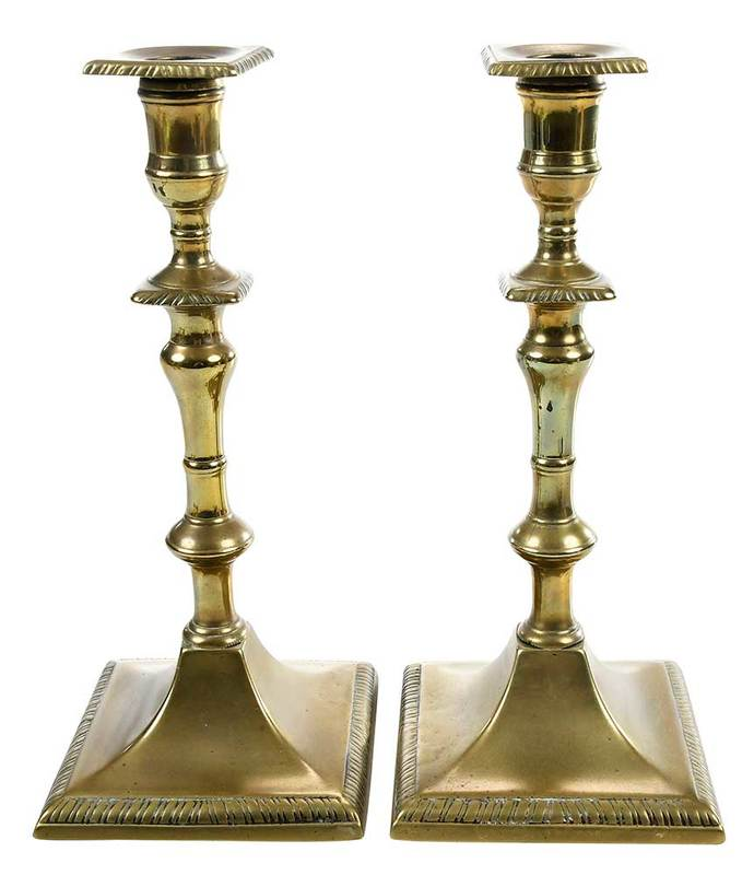 Pair of George II Brass Candlesticks