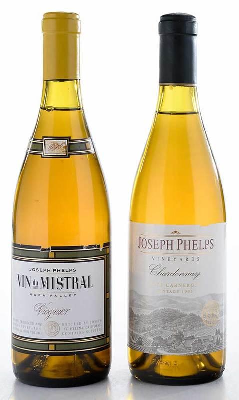 Two Vintage Bottles Joseph Phelps Chardonnay, Viognier