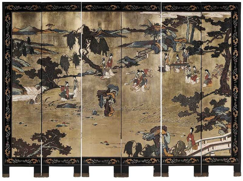 Six Panel Lacquered and Parcel Gilt Room Screen