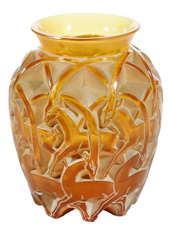 R. Lalique Chamois Amber Glass Vase