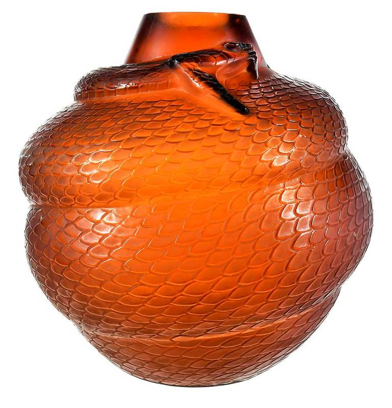 R. Lalique Serpent Amber Glass Vase