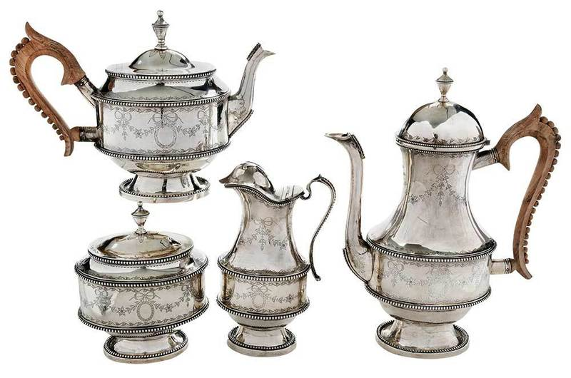 Four Piece Portugal Silver Tea Service