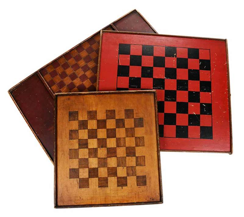 Three American Hand Painted Game Boards