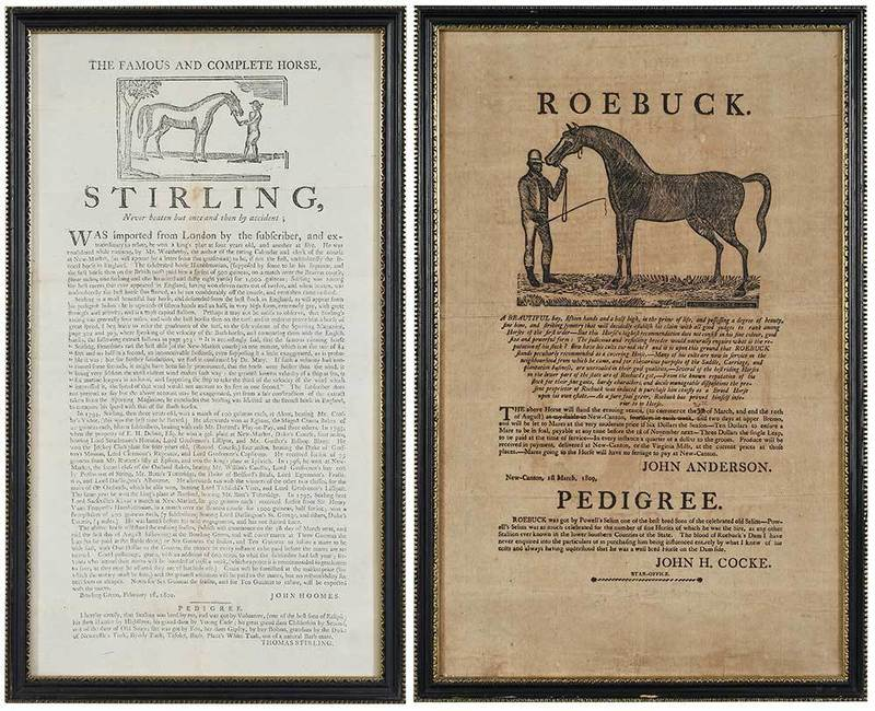Two Early Illustrated Horse Breeding Broadsides