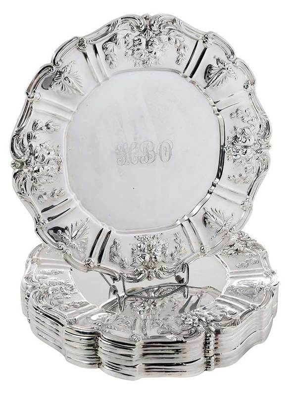 Twelve Reed & Barton Francis I Sterling Plates