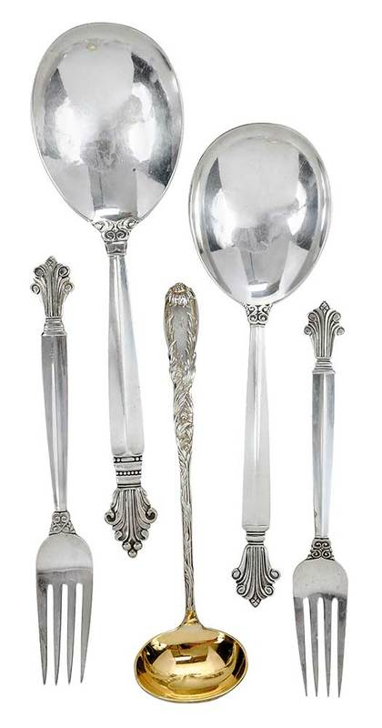 Five Sterling Serving Pieces, Jensen, Tiffany