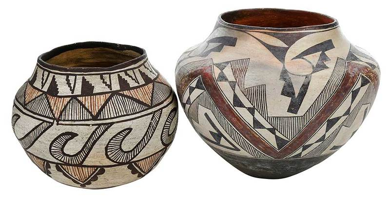 Two Southwestern Polychrome Decorated Jars