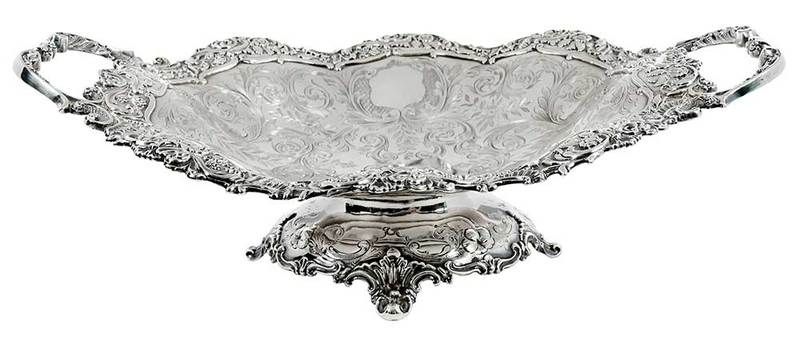 New York Coin Silver Two Handle Basket