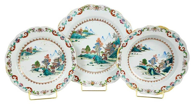 Canton Chinese Export Porcelain Partial Service