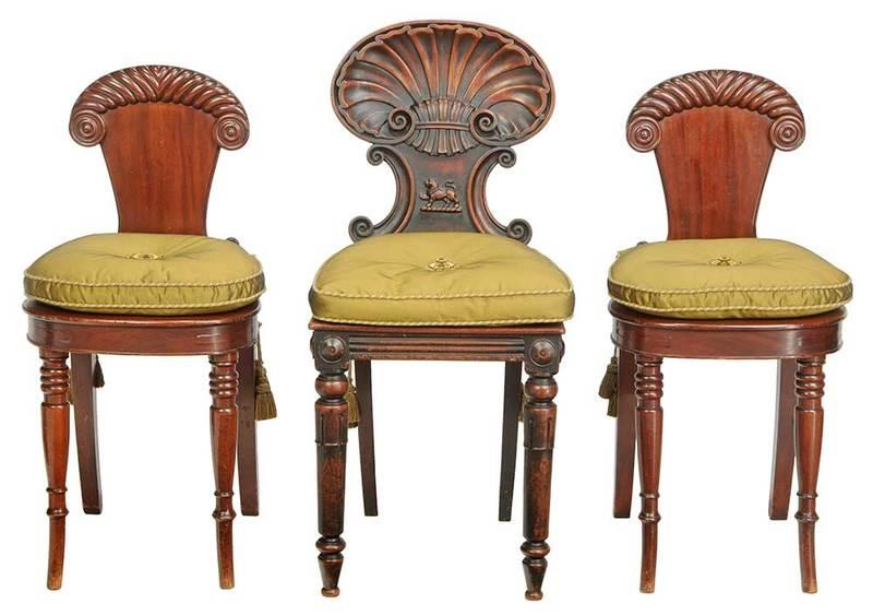 Three Georgian Carved Mahogany Hall Chairs