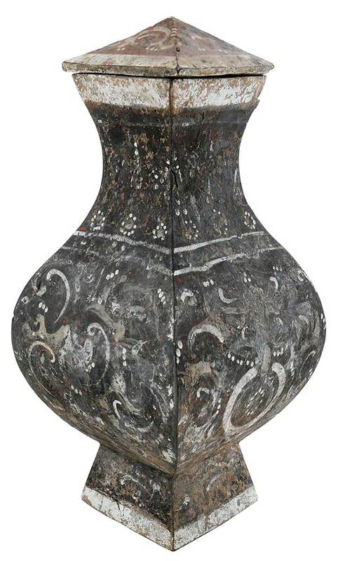 Chinese Painted Earthenware Fang Hu Covered Jar