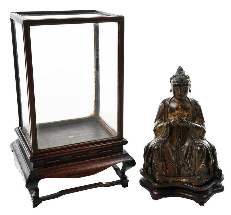 Carved Buddha with Stand and Miniature Vitrine