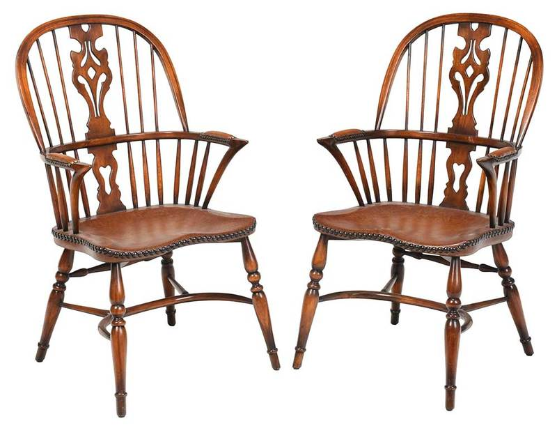 Pair Windsor Style Chairs by Theodore Alexander