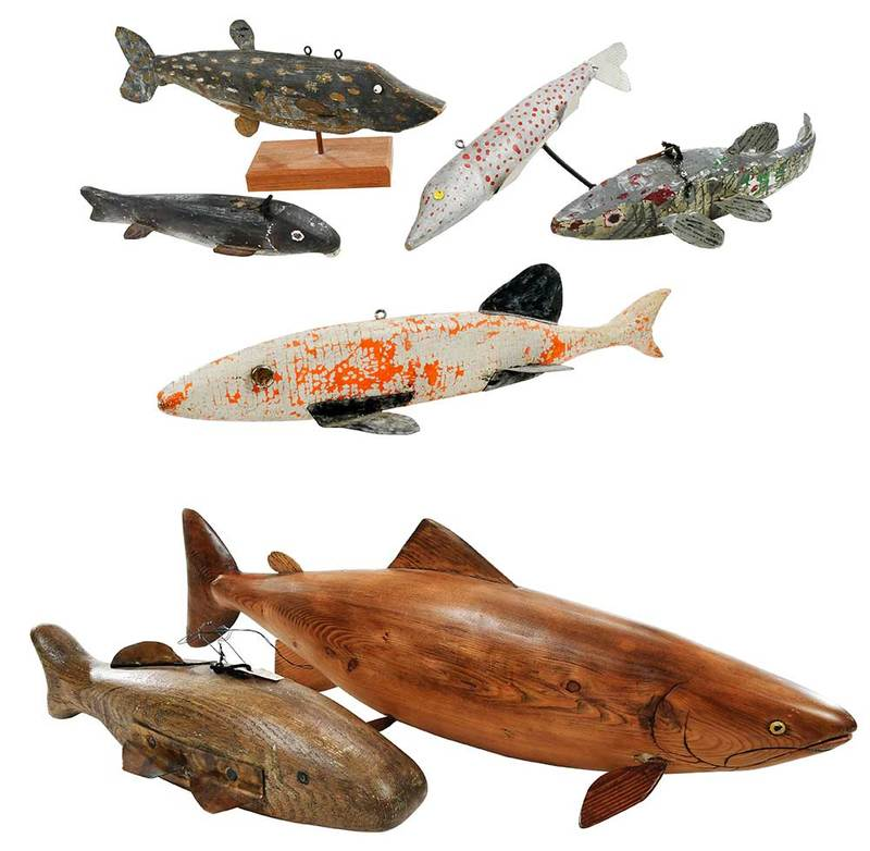 Seven Carved Wood Fish Decoys