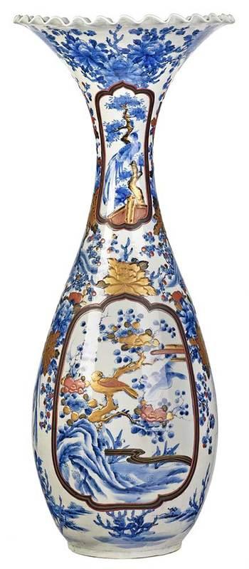 Monumental Japanese Imari Floor Vase