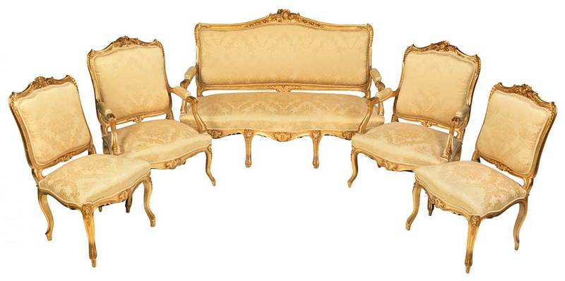 Louis XV Style Carved and Gilt Wood Parlor Suite