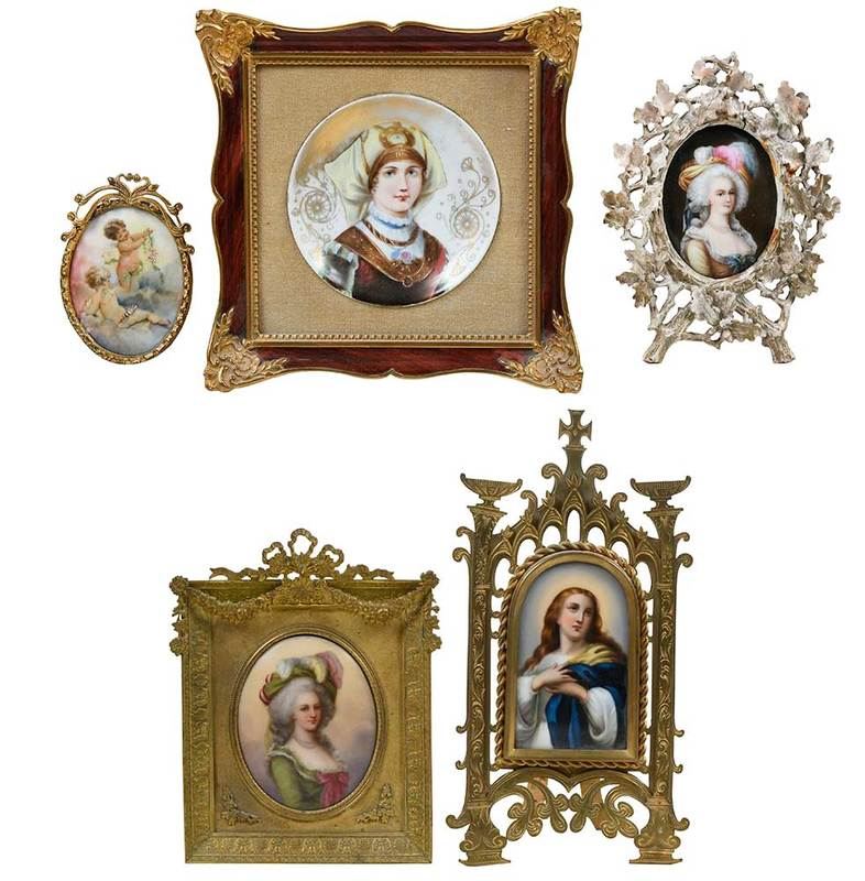 Five Framed Hand Painted Porcelain Plaques
