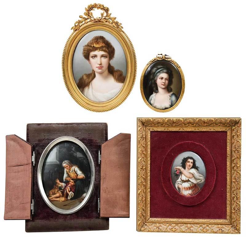Four Small Framed Porcelain Plaques