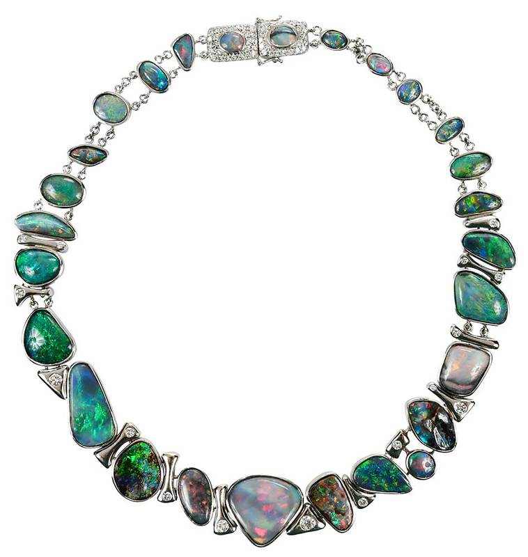 18kt. Opal and Diamond Necklace