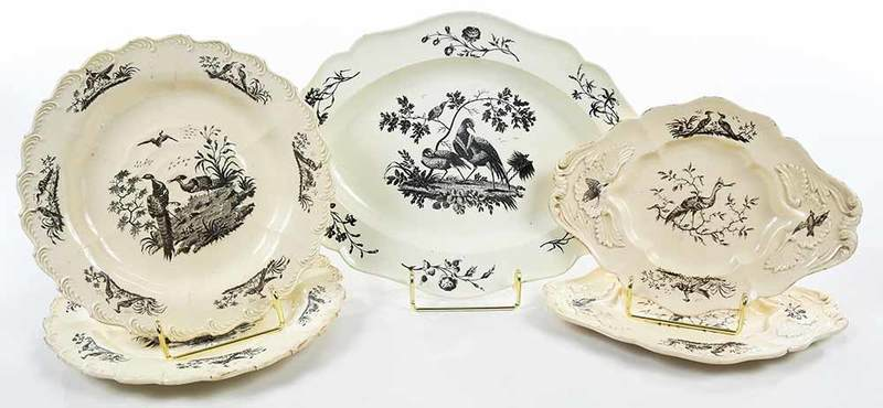 Five Pieces of Creamware, Liverpool Birds