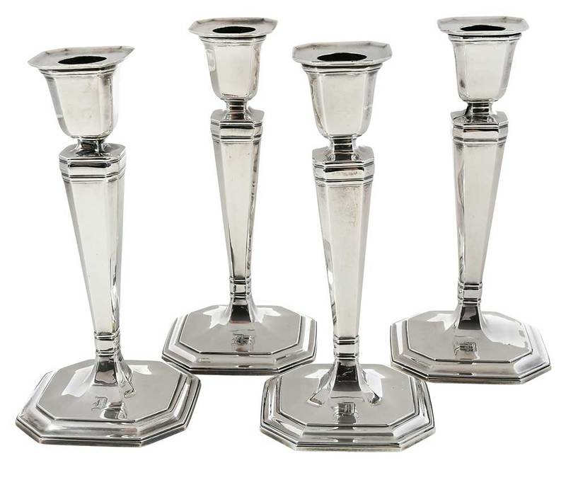 Set of Four Tiffany Sterling Candlesticks
