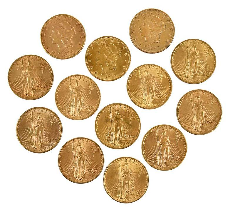 13 Twentieth Century Gold Double Eagle Coins