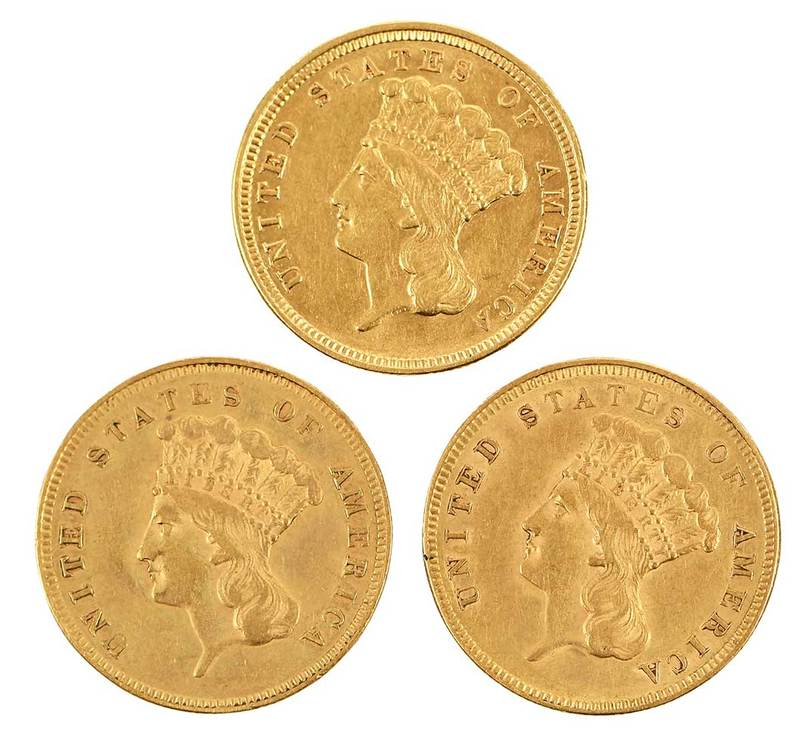 Group of Three, Three Dollar Gold Coins